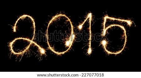 Fireworks New Year 2015 - stock photo