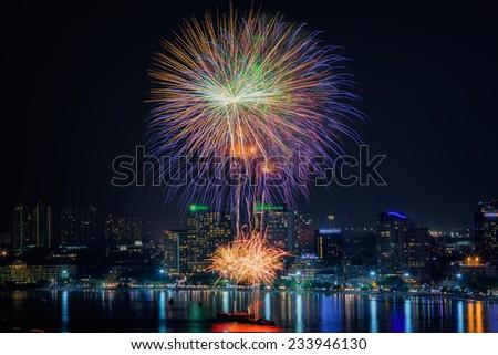 Fireworks new year 2014 - 2015 celebration at Pattaya beach, Thailand - stock photo