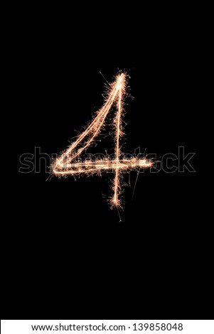 Fireworks numbers - stock photo