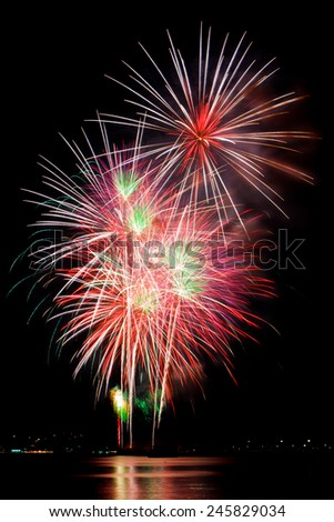 fireworks, on a black background. - stock photo