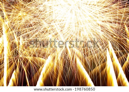 fireworks on black background  Beautiful colorful holiday fireworks on the black sky background