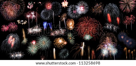 fireworks on black collage xxxl can be used separately as design elements - stock photo
