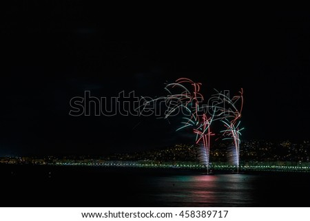 Fireworks on Day celebrations July 14 in Nice