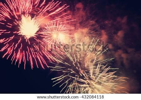 Fireworks on evening sky background - stock photo