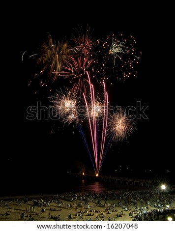 Fireworks on Glenelg beach during new years eve - stock photo