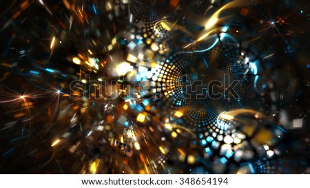 Fireworks on holiday party. Abstract bright background with lighting effect for creative design. Fantasy festive decoration. Sparkle beautiful color pattern for a night disco party. Fractal art - stock photo