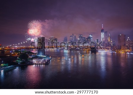 Fireworks on New York skyline - stock photo