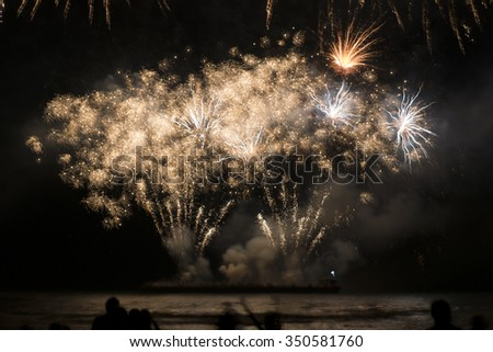 Fireworks on the boat - stock photo