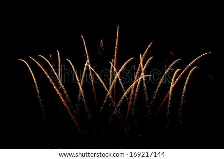 Fireworks on the dark sky during the night of Bangkok - stock photo