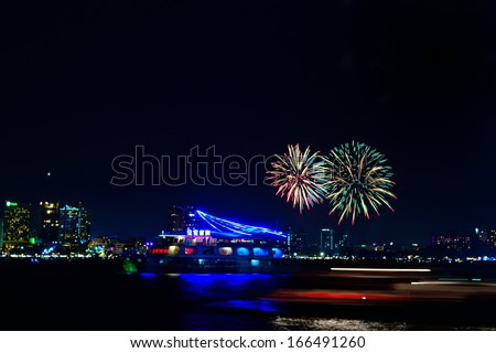 Fireworks on the sea and have boat front view
