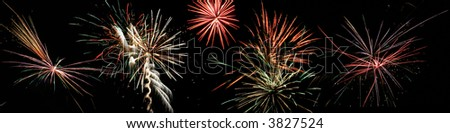 fireworks on the 4th of july with a black sky - stock photo