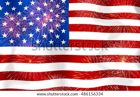 Fireworks on the  United States of America flag copy space in the middle.Concept Celebrations, happy start for the entertainment suitable for a background.