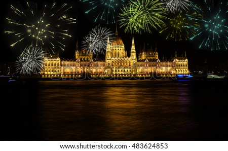 Fireworks over Budapest parliament at night