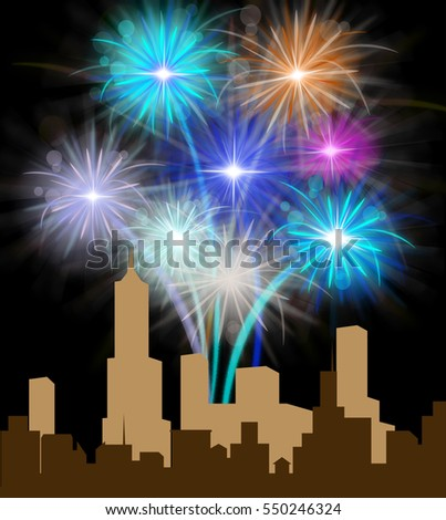 Fireworks Over City Silhouette Meanings Festive Party Pyrotechnics