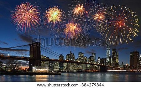 Fireworks over Manhattan, New York City. - stock photo