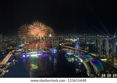 Fireworks over Marina Bay - stock photo
