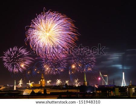 Fireworks over Riga, Latvia  during Riga City Festival 2013  - stock photo