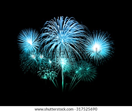 fireworks over sky at the night - stock photo