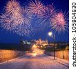 Fireworks over the castle in the town of Kamenetz-Podolsk, Ukraine - stock photo