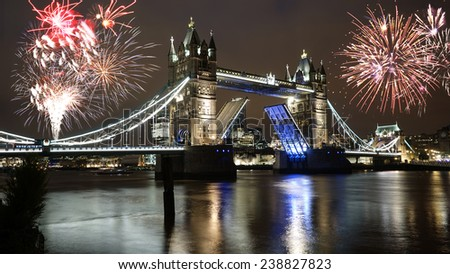 Fireworks over Tower Bridge, lifted, at night