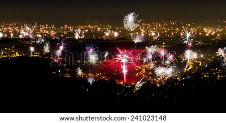 Fireworks over Zagreb on New Year - stock photo
