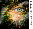 Fireworks painted on mans face for festivities - stock photo