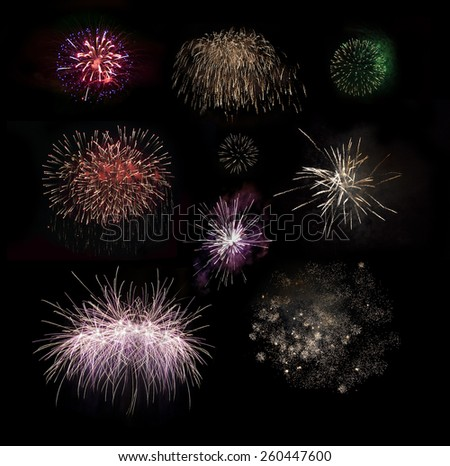 Fireworks set. Brightly colorful fireworks in the night sky - stock photo