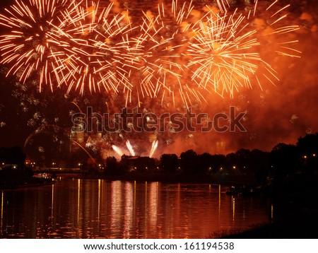 Fireworks show by the Wawel Castle over Vistula river, Krakow, Poland - stock photo