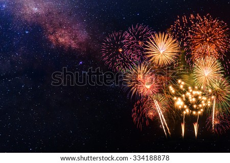 Fireworks with blur milkyway background - stock photo