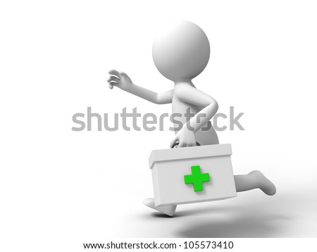 first aid/A man ran to the first aid - stock photo