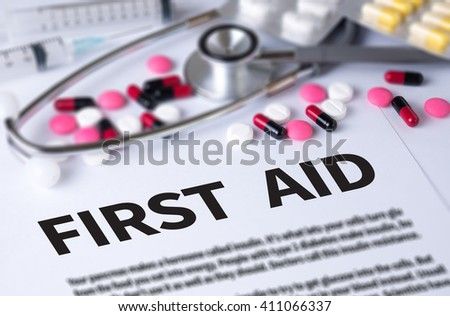 FIRST AID and Background of Medicaments Composition, Stethoscope, mix therapy drugs doctor and select focus