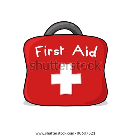 First Aid bag illustration; First aid kit drawing