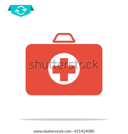 first aid box icon - stock photo