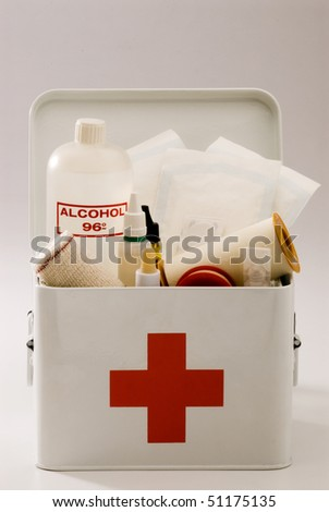 First aid box in white background.