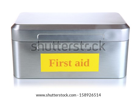First aid box isolated on white - stock photo