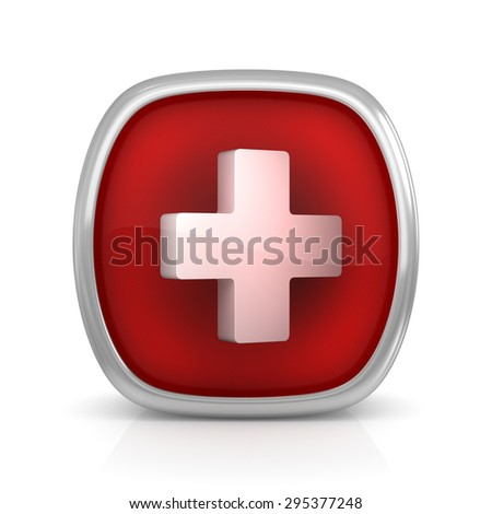 First aid button , This is a computer generated and 3d rendered picture.