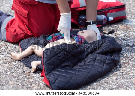 First aid. CPR. - stock photo
