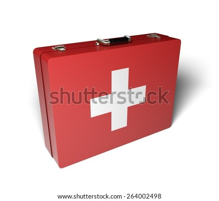 First Aid. 3D. First aid case. - stock photo