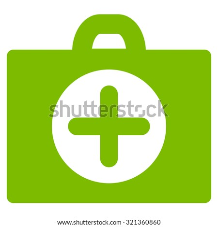 First Aid glyph icon. Style is flat symbol, eco green color, rounded angles, white background.