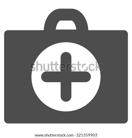 First Aid glyph icon. Style is flat symbol, gray color, rounded angles, white background.
