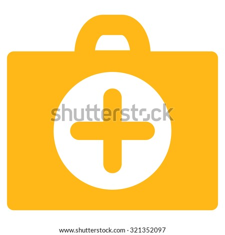 First Aid glyph icon. Style is flat symbol, yellow color, rounded angles, white background.