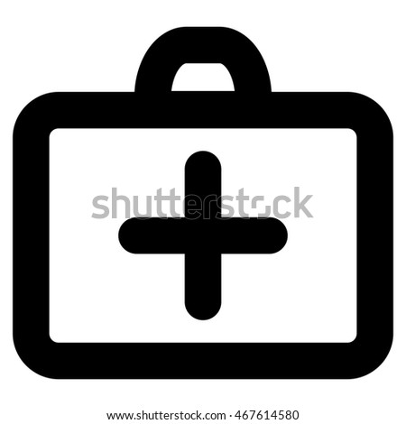 First Aid glyph icon. Style is stroke flat icon symbol, black color, white background.