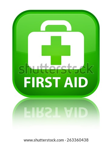First aid green square button - stock photo