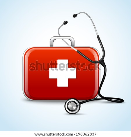 First aid healthcare concept with medical box and stethoscope  illustration
