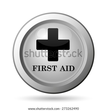 First aid icon. Internet button on white background.  - stock photo