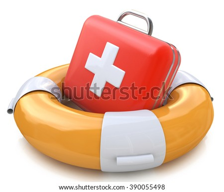 First aid kit and life belt in the design of the information related to the assistance