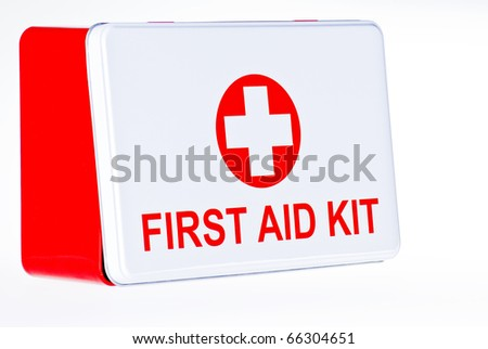 First aid kit box over white background - stock photo