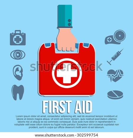 First aid kit concept with hand holding medicine chest with cross and healthcare icons flat illustration