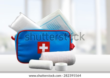 First Aid Kit, First Aid, Adhesive Bandage. - stock photo