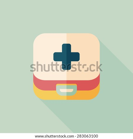 first aid kit flat icon with long shadow